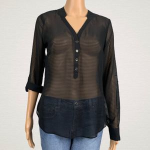 A New Approach A.N.A Sheer Popover Blouse Shirt